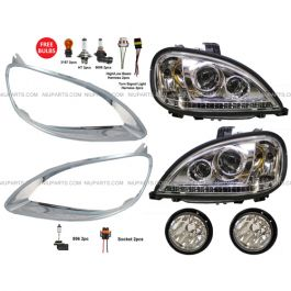 APDTY 9906312 Freightliner Columbia 2010-04 Chrome Headlight Bezel Front Right Replaces 06-32242-003